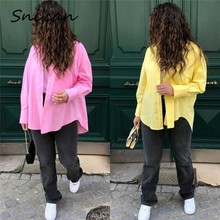 Snican Femmes Grande Taille Solide Chemisier Printemps Mode Décontracté Dames Chemises Za Vintage Chic Hauts Chemisier Zora 2021 Haut Femme Nouveau