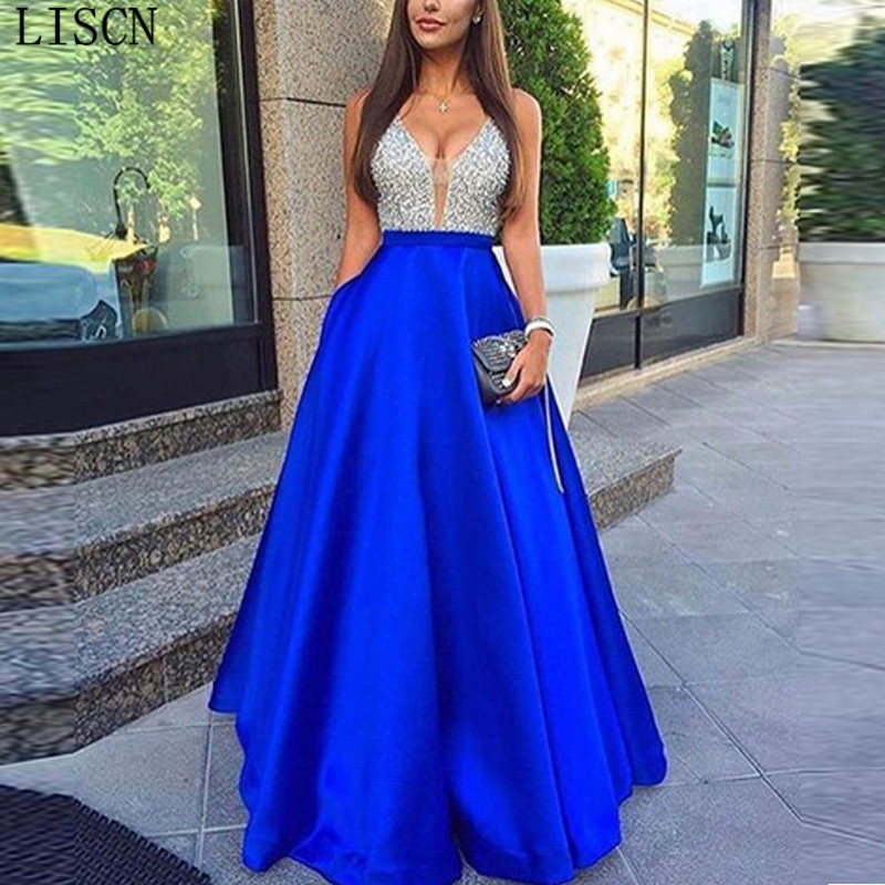 Royal Blue Satin Straps Floor Length Luxurious Sparkly Silver Beads Crystal V-Neck Backless Long   Prom     Dress   Formal Party Gowns