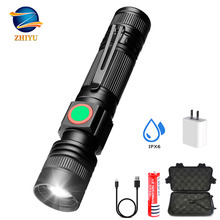 ZHIYU USB rechargeable LED flashlight T6 zoom torch super bright lamp with 18650 battery outdoor camping lamp adventure Torch