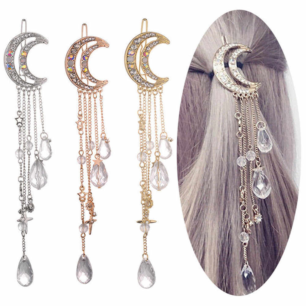 Fashion Elegant Women Lady Moon Rhinestone Crystal Tassel Long Chain Beads Dangle Hairpin Hair Clip Hair Jewelry