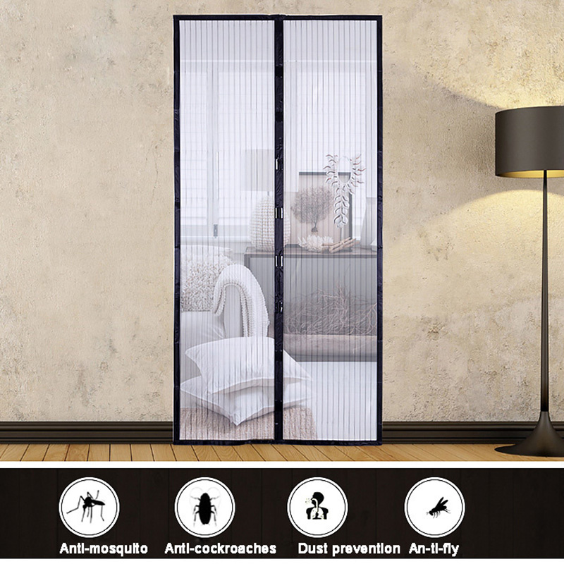 Summer Anti Mosquito Insect Fly Bug Curtains Magnetic Mesh Net Automatic Closing Door Screen Kitchen Household Curtains Black
