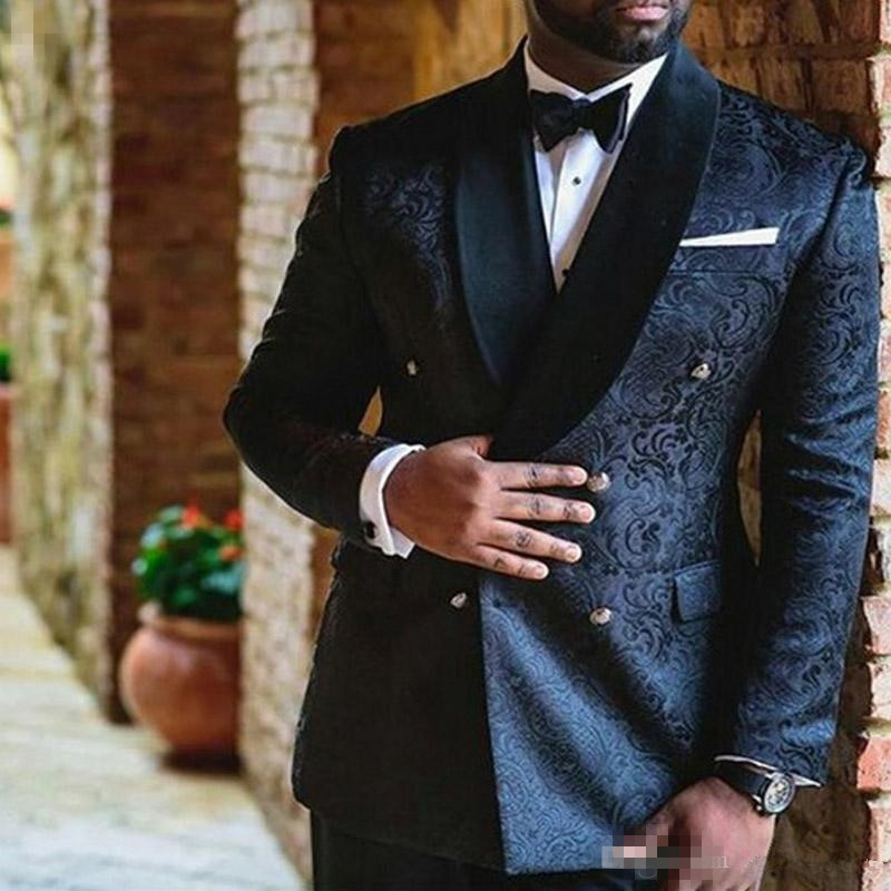 12Navy Blue Wedding Mens Suits Double Breasted Custom Slim Fit Groom Tuxedos Shawl Lapel Two Piece Jacket Pants Male Blazer