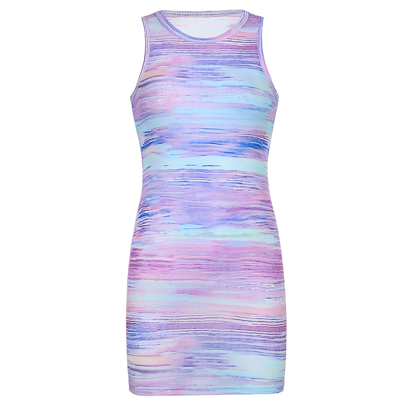 Sweetown Tie Dye Print Knitted Beach Strap Dresses Women Y2K Club Outfits Off Shoulder Slim Sexy Mini Bodycon Dress Summer 7