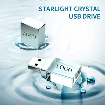 50pcs Custom Logo USB 2.0 or 3.0 Crystal Usb flash drives 4gb 8gb 16gb 32gb 64gb 3D with color light image