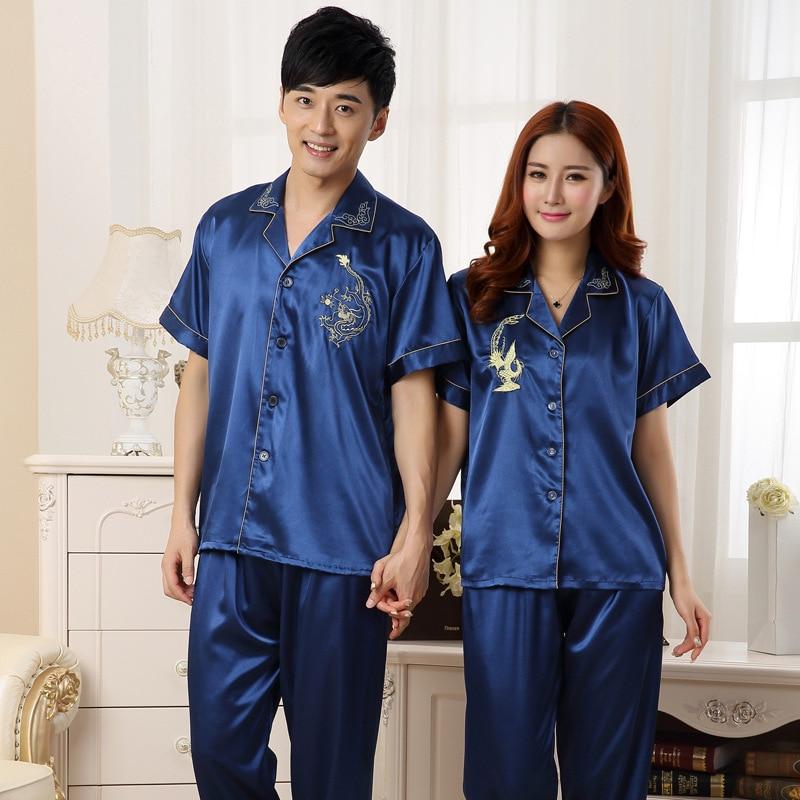 FZSLCYIYI Short Sleeve Sleepwear Couple Pajamas Pijamas Men Satin Pyjama Man Home Wear Silk Pyjama Set Home Suit Big Size 3XL