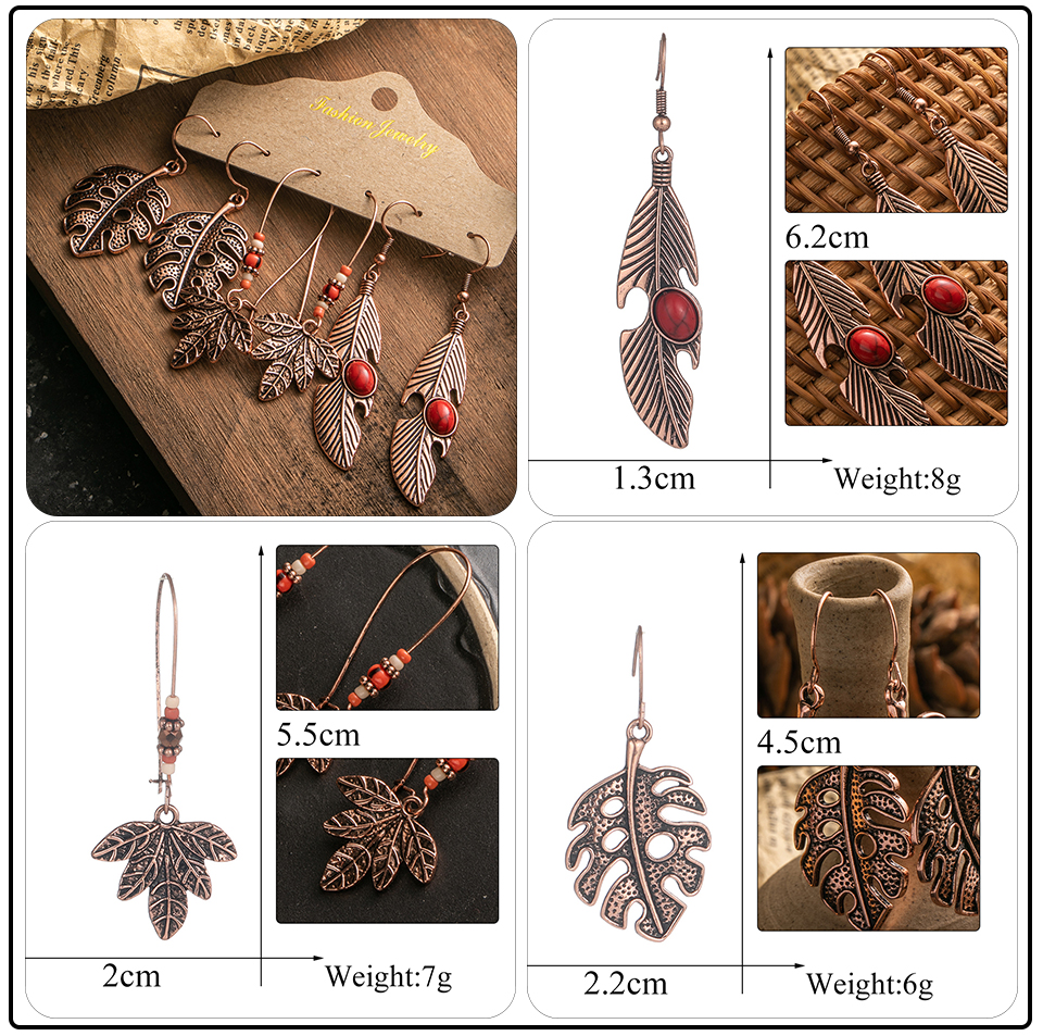 Ethnic Rose Gold Metal Tassel Fringe Womens Earrings Sets Jewelry Bohemia Vintage Round Circle Leaf Butterfly Geometric Drop Earrings Dropshipping Wholesale (7)