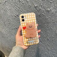 Funda de teléfono con soporte de oso amarillo para iPhone, carcasa trasera a prueba de golpes para iPhone 11 12 Pro Max XR XS Max X 7 8 Plus SE2