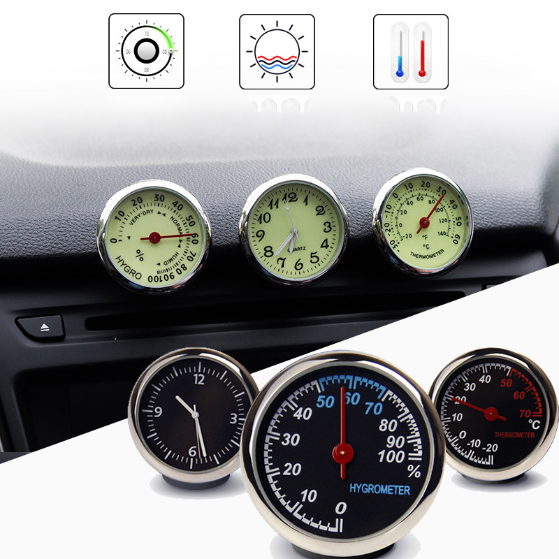 Car Clock Thermometer Hygrometer Internal Stick-On Auto Interior Luminous Quartz clock Dashboard placement Automotive interior