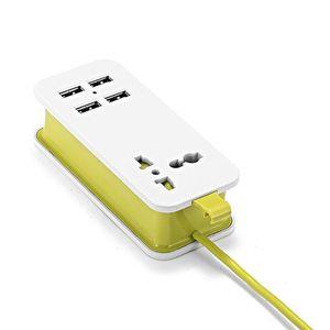 "Image 5 - ארה""ב יפן תקע 1.5m 5ft כוח הארכת שקע USB נייד נסיעות מפצל מתאם עם 2 USB חכם טלפון מטען 220V כדי 5V"