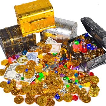 Retro Treasure Box with Lock Toys for Party Favors Props Decoration Pirate Treasure Chest for Kids Pretend Paying Toys pirate gold coins plastic set of 100 play gold treasure coins for play favor party supplies pirate party treasure hunt