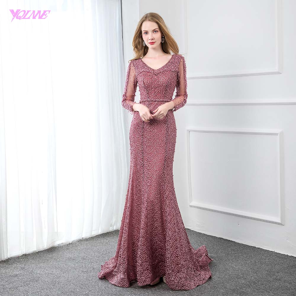 YQLNNE Elegant Dark Pink Lace Evening Dress Long Sleeve V Neck Beaded Mermaid Formal Women Evening Gown Party Dresses