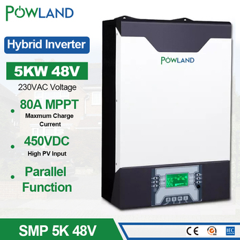 Falownik solarny 500Vdc 5000W 80A MPPT równolegle falownik 48V 230VAC czysta fala sinusoidalna hybrydowy falownik z ładowarką tanie i dobre opinie POWLAND CN (pochodzenie) 50Hz 60Hz auto detect 1 - 200KW JEDNA 13 5KG 530X 377X 217mm SMP 5K inverter 5000W inversor solar