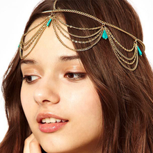 Hairwear Chain for Women Bohemian Jewelry Charm Green Stone Simple Gothic Hair Cuff Headband Multi-layer Tassel Headdress