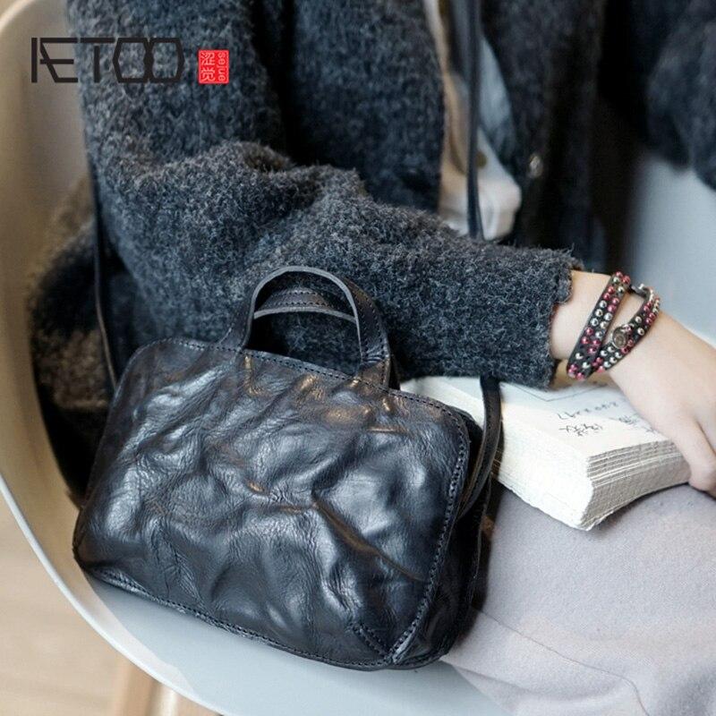 AETOO British Style Retro Handmade Cowhide Bag Lady Leather Shoulder Oblique Cross Bag, Casual Small Japanese Korean Women's Bag