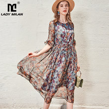 100% Silk Women's Runway Dresses O Neck Short Sleeves Ruffles Floral Printed Lace Up Waist Fashion Casual Mid Calf Dresses