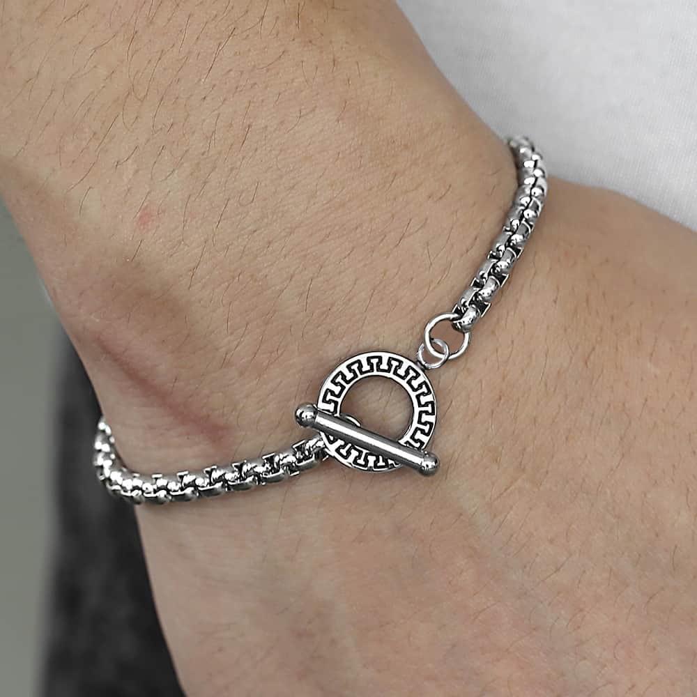 Men's Bracelets Black Silver Color Stainless Steel Box Link Wheat Twristed Rolo Cable Cuban Bracelet Women Jewelry Gift TBS003