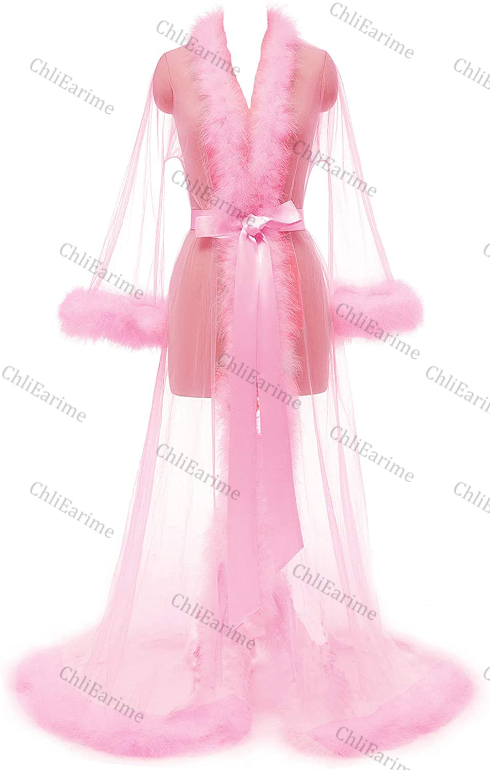 Tulle fur Tie closure Features: This underwear robe is made of luxurious tulle mesh, sexy open front, sleeves, collar and hem ar