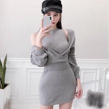 Women Solid Knitted Pullover Sweater And Bodycon Knit Dress Two Piece Sets Sweater Dresses Off Shoulder Sexy Suits cold shoulder bodycon mini sweater dress