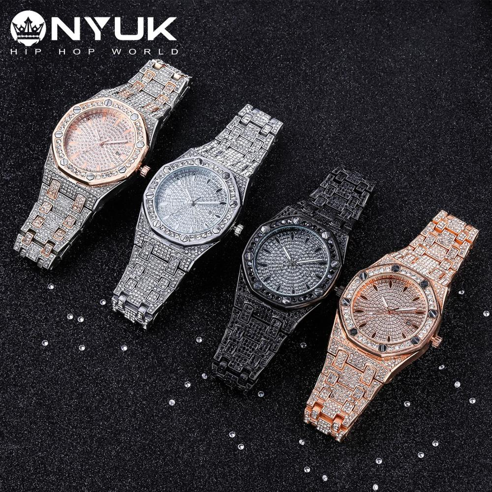 NYUK Bling Diamond Watch For Men Iced Out Luxury Quartz Watches Man Dress Men's Wristwatch Silver Stainless Steel Clock Gift