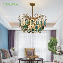 Натуральный агат фойе светодиодный подвесной светильник для гостиной, спальни, светодиодный светильник, Золотой Металл, лофт, подвесной светильник, скандинавский светильник для дома