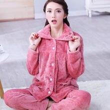 Womens Winter Pajamas Set Turn down Collar Sexy Flower Embroidery Sleepwear Warm Flannel Pajama Casual Mom Big Size Homewear
