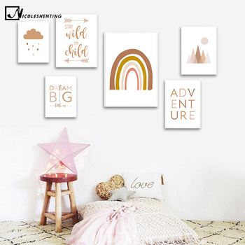 Abstract Rainbow Nursery Quotes Children Poster Canvas Art Print Minimalist Wall Picture Painting Nordic Kid Baby Room Decor black white baby animal rabbit tail canvas art print and poster nursery bunny canvas painting for kids room nordic wall decor