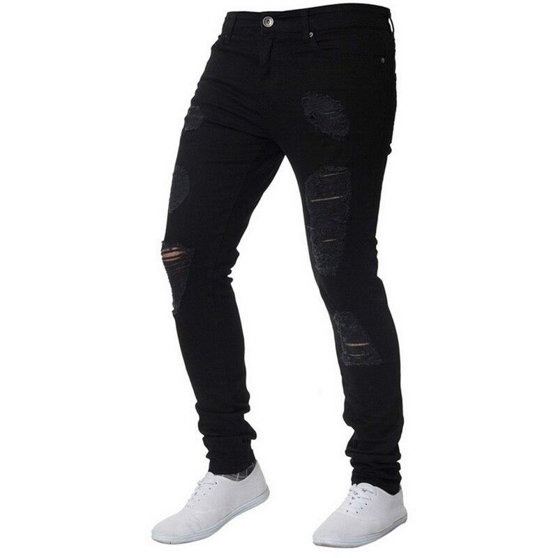 Мужские рваные джинсы для мужчин, повседневные Черные синие обтягивающие облегающие джинсовые штаны, байкерские джинсы в стиле хип-хоп с сексуальными дырками, джинсовые штаны - Цвет: black2