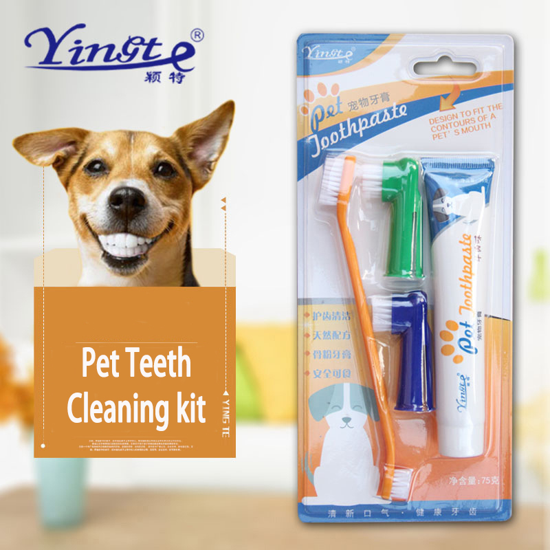 Dog Toothbrush Set Oral Cleaning Care Four-Piece Kit Cat Pet Supplies Special Toothpaste Is Clean Hygienic Cat Toothbrush