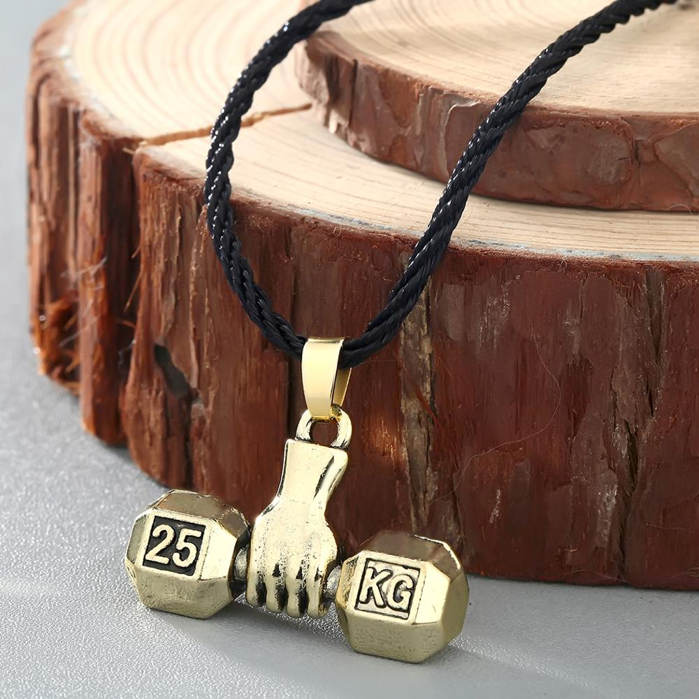 Fashion Men Silver Gold Necklace Chain Sport Fitness Weight Lifting Luck Dumbbell Pendant Necklace For Men Jewelry