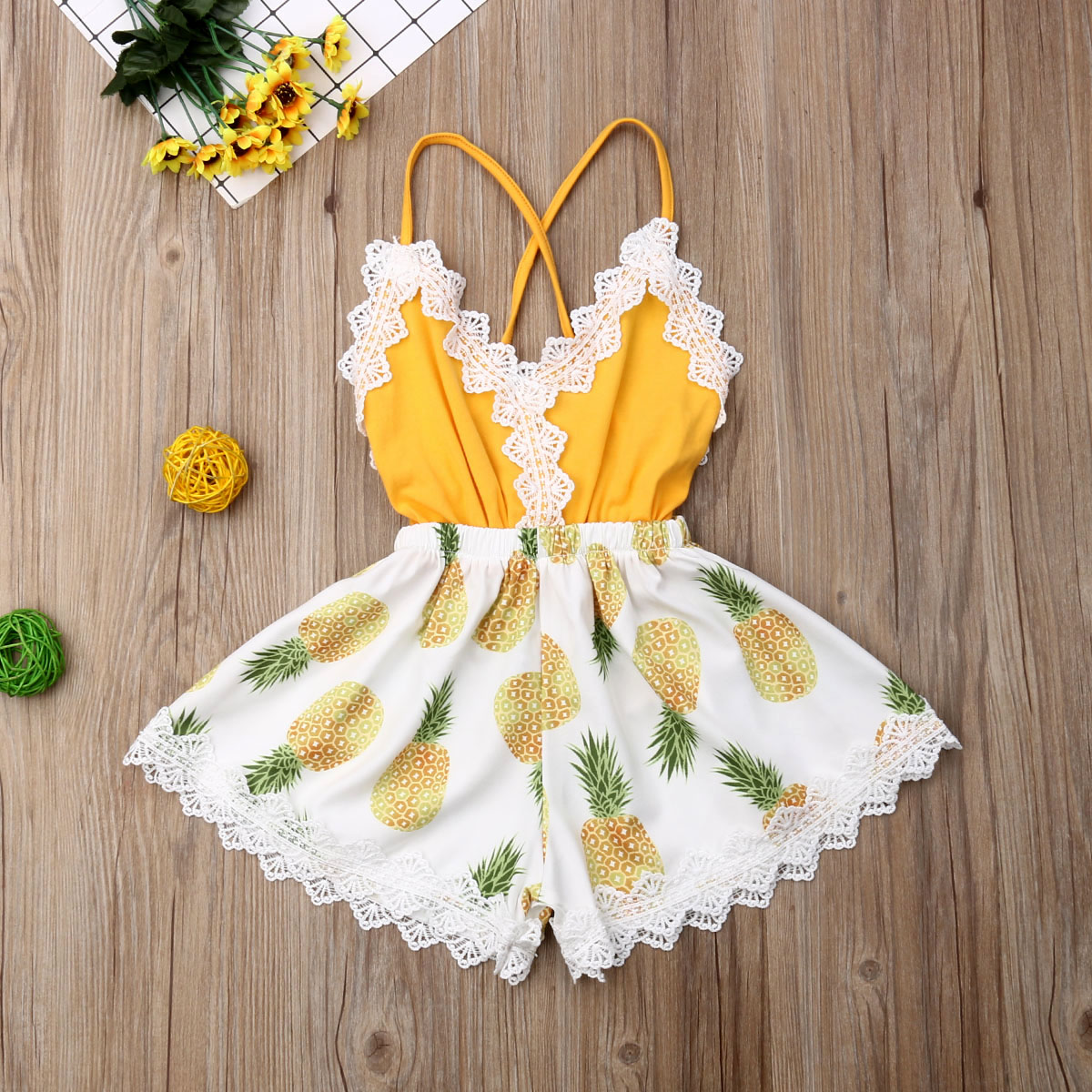 Pudcoco Summer Toddler Baby Girl Clothes Sleeveless Lace Ruffle Pineapple Print Backless Romper Jumpsuit Outfit Sunsuit Clothes