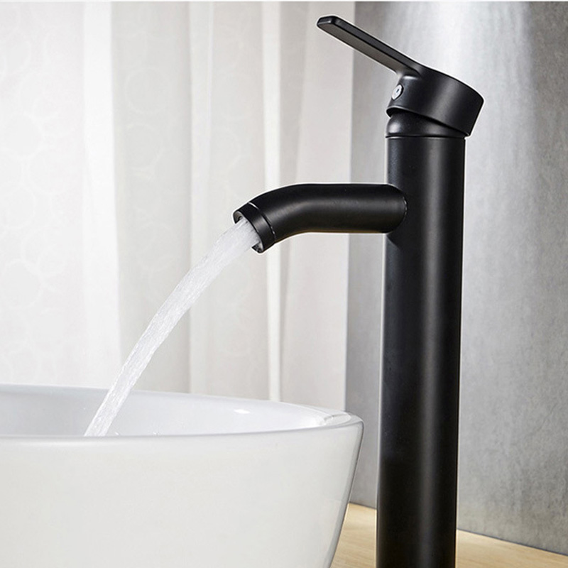 Single Faucet Stainless Steel Black Matte Frosted Spray Paint Cold Hot Eater Bibcock Black And White Rotary Table Basin