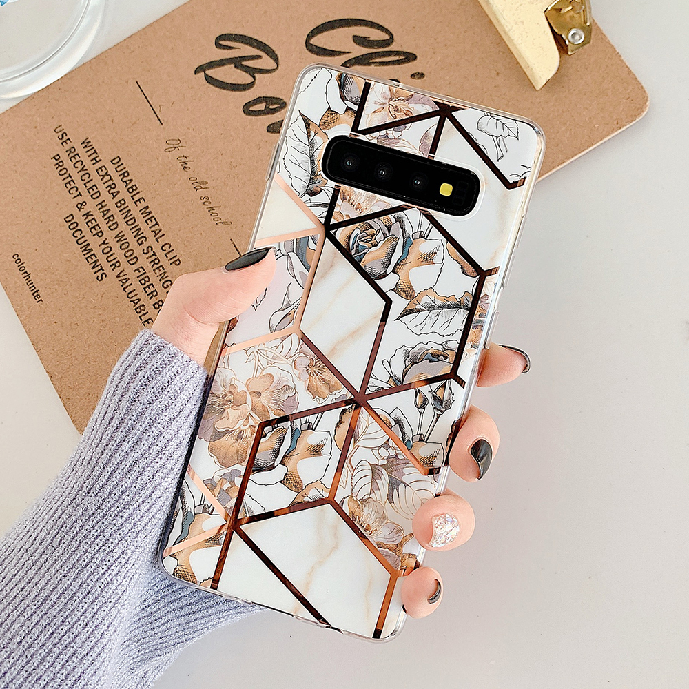 Banana Leaf & Flower Phone Case For Samsung Galaxy A50 A70 S20 S10 S9 S8 Plus Note 10 Soft IMD Plating Splice Back Cover