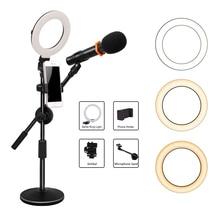 GSKAIWEN 6 inch Selfie LED Ring Light with Cell Phone Holder Microphone Holder for Youtube Live Stream Makeup Selfie Lighting