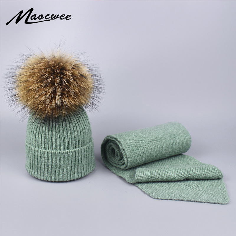 Winter 2 Pieces Hat Scarf Sets For Children And Adult Knitted Wool Real Natural Raccoon Fur Pompon Warm Thick Skullies Beanies