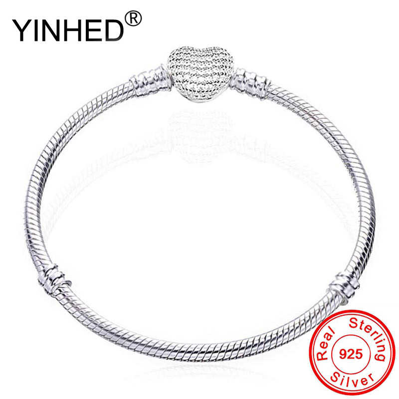 YINHED Genuine 925 Sterling Silver Original Heart Clasp with Crystal Pan Bracelet for Women Fit Bead Europe DIY Jewelry ZB039