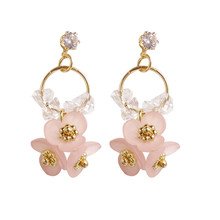 Personality geometric metal flower shapes earrings tide female delicate beautiful Korean women big wholesale