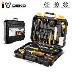 DEKO DKMT100 herramienta llave reparación Auto mezclado Paquete de combinación de herramienta de mano Kit con caja de herramientas de plástico caja de almacenamiento