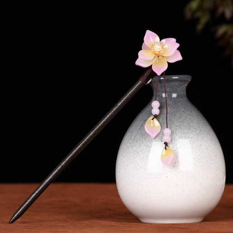 Древность китайский Hanfu cheongsam палка для волос классический цветок Деревянная заколка для волос кисточки шаг встряхивание ручной работы укр...