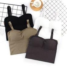 Ropa interior de algodón para mujer, Top de tubo, Sujetador deportivo Sexy, moda de Color sólido, sin mangas, lencería Sexy