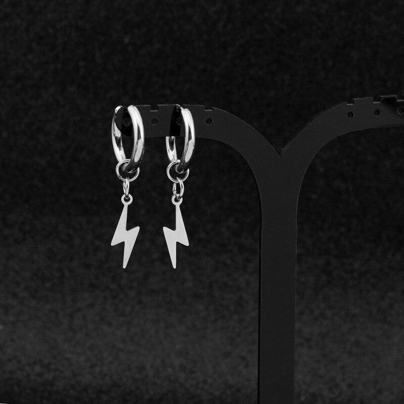 2020 простые Подвесные серьги из нержавеющей стали с молнией, корейские очаровательные серьги kpop для женщин и мужчин, рождественский подарок,...