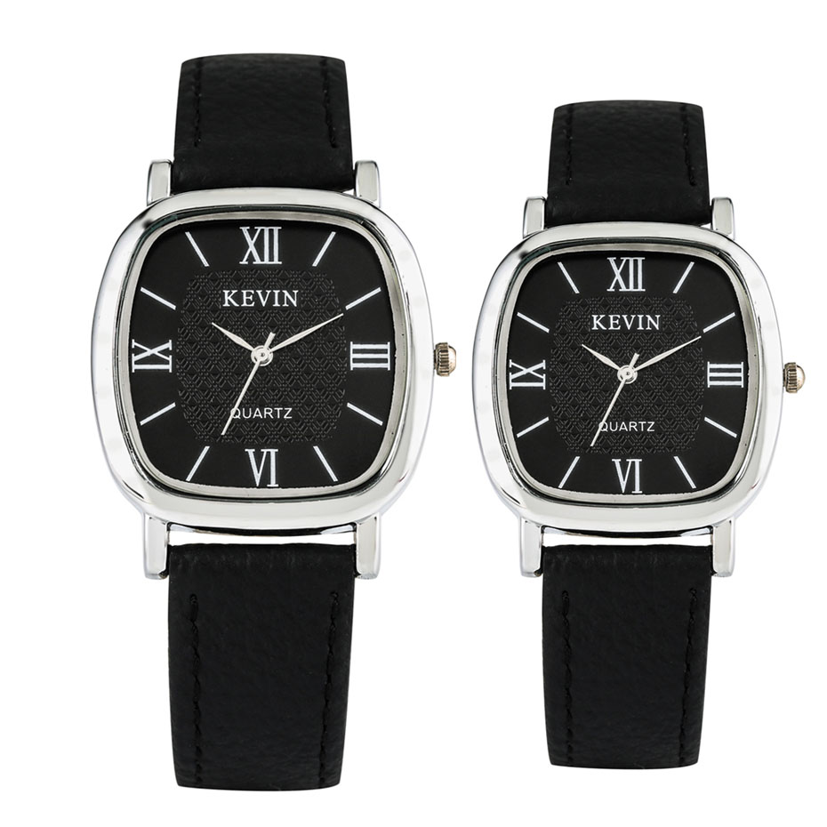 KEVIN Watches For Couple Black Leather Men Women Wristwatch Casual Quartz Timepiece Roman Numerals Display Clock New 2019 Reloj