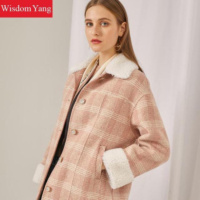Manteaux dhiver femmes laine de mouton rose Plaid vêtements dextérieur dames vestes coréen décontracté en vrac surdimensionné laine pardessus laine manteaux