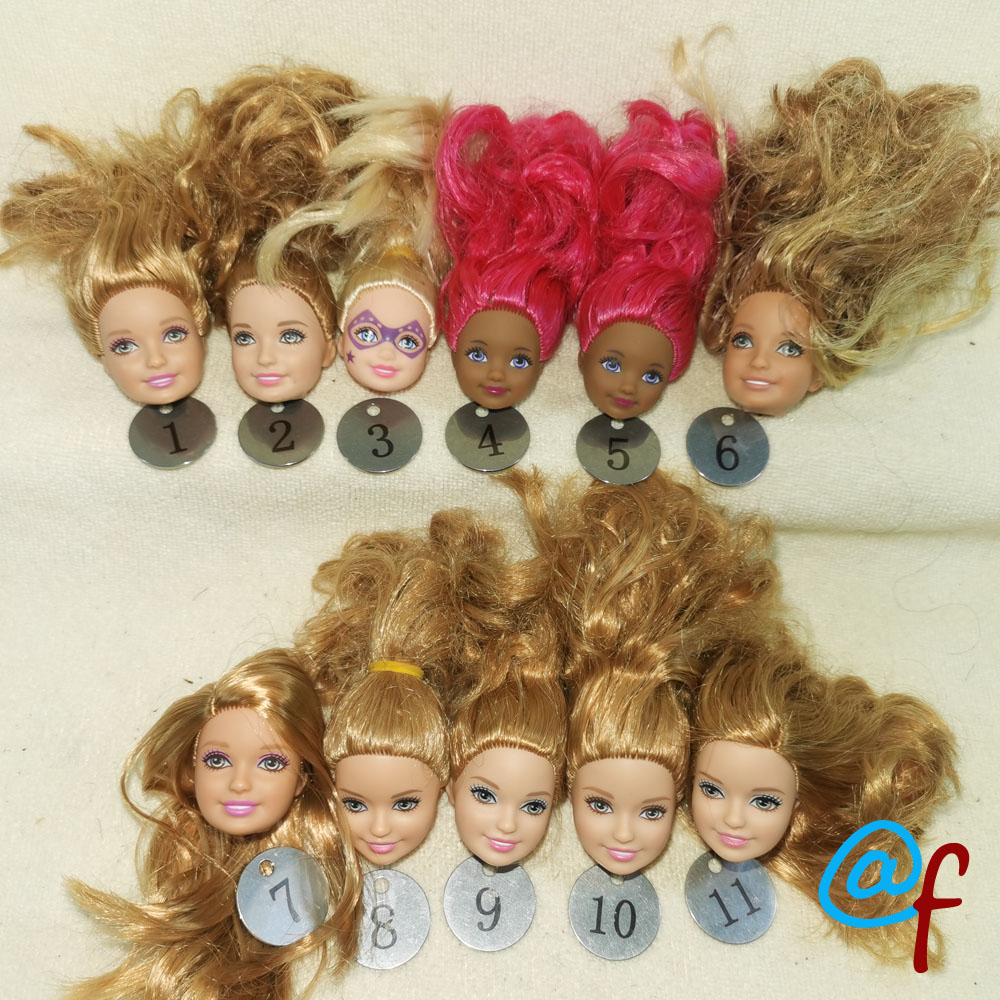 B31-1 Original Foreign Trade Young Girl  Stacie Kelly 1/6 OOAK NUDE Doll Head Mussed Pink Red Hair For DIY