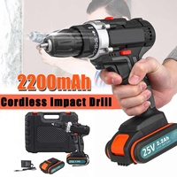 Doersupp 25V Electric Drill High Power Electric Screwdriver Cordless Impact Drills Driver DC Motor 1/2 2x2.2Ah Lithium Battery
