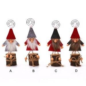 Рождественская деревянная подставка-держатель для карт Gnome с вертлюжным зажимом для отображения заметок, фотографий, картин, карт с номером...