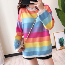 Fashion Multi-color Striped Sweater Women's Long-Sleeve 2019 Autumn New Style O Neck Crew Neck Loose-Fit Cover Pullover crew neck ethnic style geometric graphic sweater