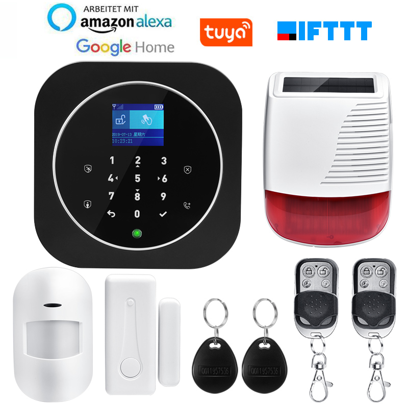 TUYA WIFI GSM GPRS Alarm System APP Remote Control RFID Card Arm Disarm With TFT Touch Keypad Languages Switchable