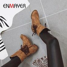 ENMAYER/ботинки из флока до середины икры на платформе с заклепками мотоботы без шнуровки с круглым носком на квадратном каблуке однотонные Короткие Плюшевые коричневые ботинки средней высоты