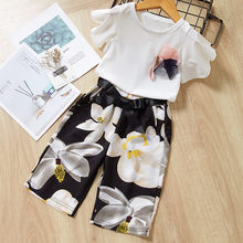 Children Summer Girl Short Sleeve Flower Jacket T-Shirt Printing Trousers Suit Costume Outfit Suit Newborn Clothes Infant Cloth(China)