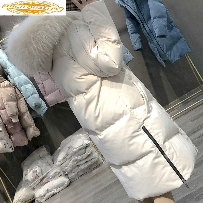 Duck Down Jacket Women Clothes 2019 New Winter Coat Women Raccoon Fur Collar Korean Puffer Jacket Women Warm Parka 6W YY1808